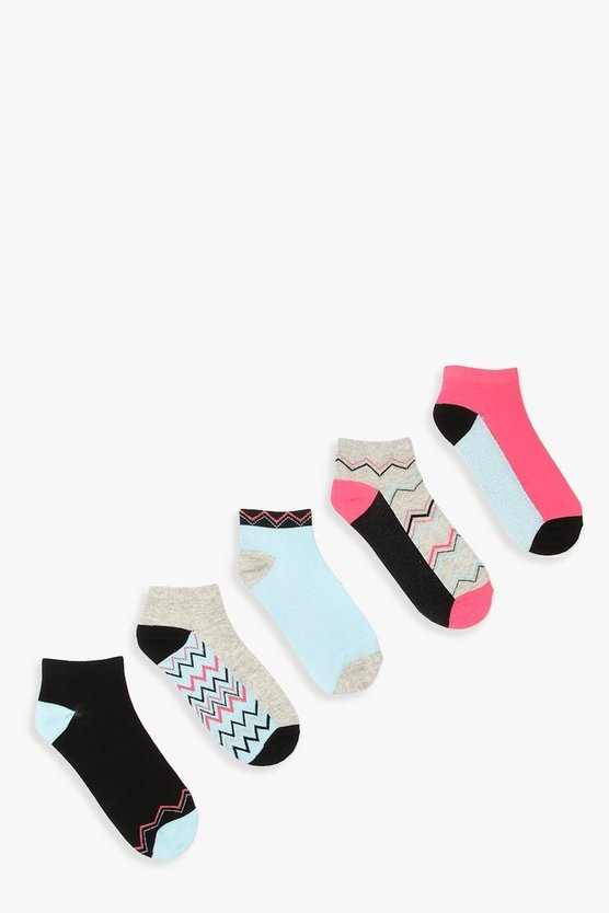 Womens Powder blue 5 Pack Glitter Zig Zag Trainer Socks