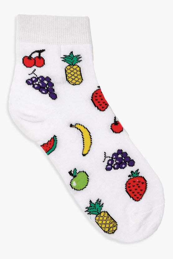 Womens White Fruit Bowl Ankle Socks