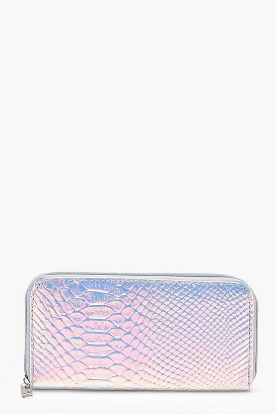 Laura Holographic Faux Snake Zip Round Purse