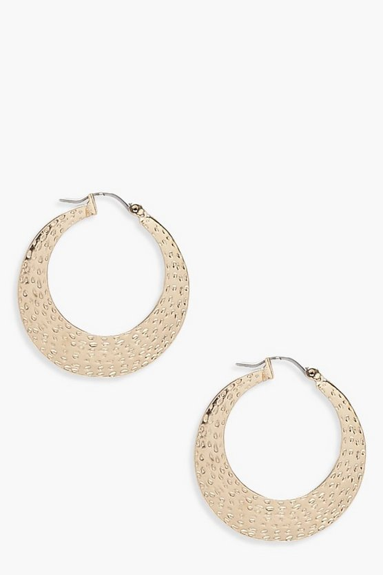 Lottie Hammered Thick Hoop Earrings