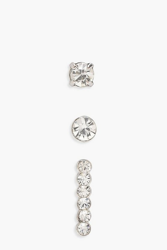 Womens Silver Mixed Diamante Stud and Bars 3pk