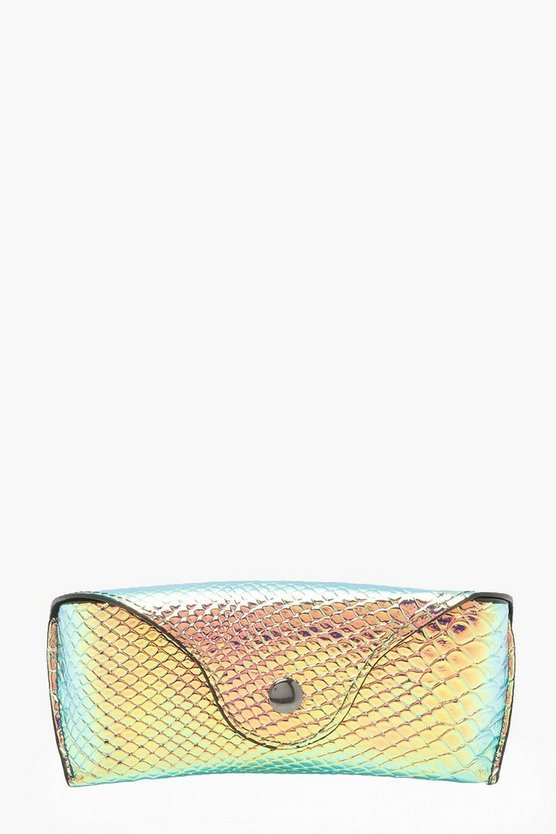 Katie Holographic Faux Snake Sunglasses Case