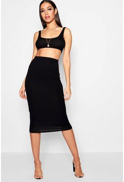 Womens Basic Jersey Midi Skirt