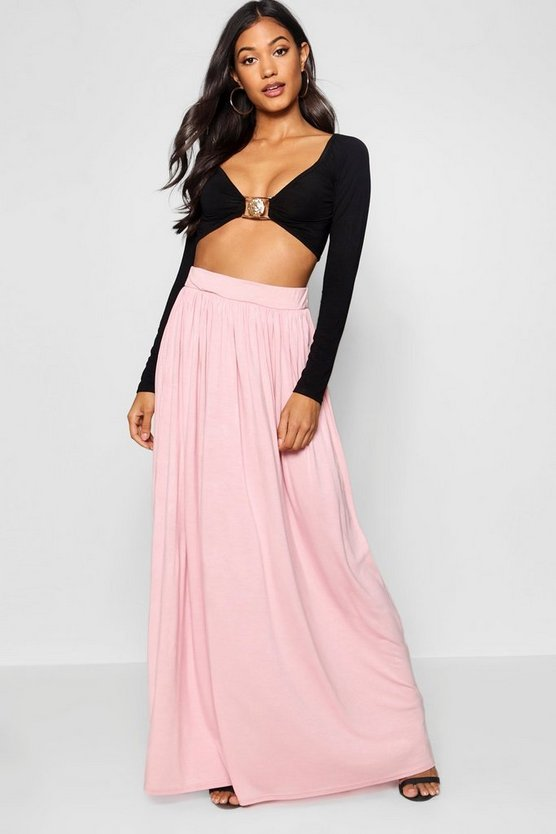 Womens Desert rose Basic Floor Sweeping Maxi Skirt