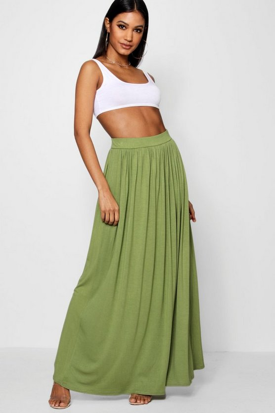 Womens Military green Basic Floor Sweeping Maxi Skirt