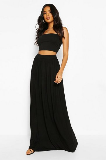 Black Basic Floor Sweeping Maxi Skirt