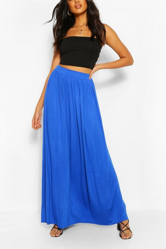 Womens Horizon blue Basic Floor Sweeping Maxi Skirt