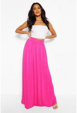 Womens Hot pink Basic Floor Sweeping Maxi Skirt