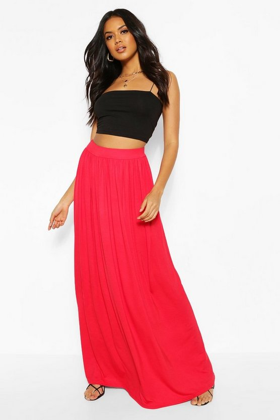Womens Red Basic Floor Sweeping Maxi Skirt