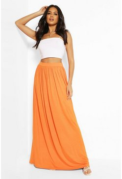 Womens Tangerine Basic Floor Sweeping Maxi Skirt