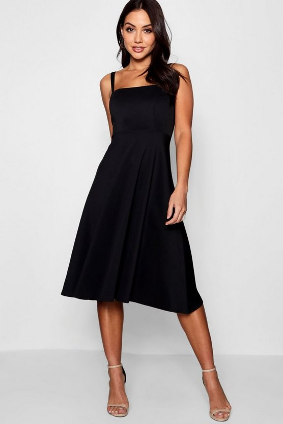 Black Boutique Tie Shoulder Midi Skater Dress