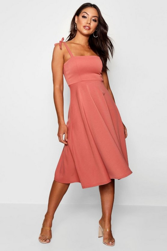 Boutique Tie Shoulder Midi Skater Dress