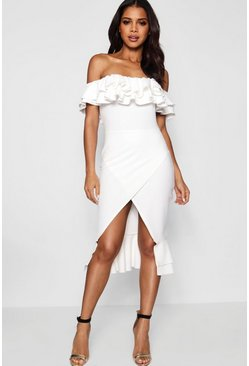 Womens White Ruffle Off the Shoulder Midi Dress