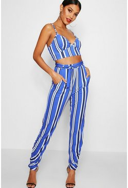 Womens Blue Stripe Bralet and Trouser Co-ord