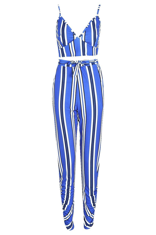 a rayas azul y corpiño Conjunto pantalones de vwBfxq8IH