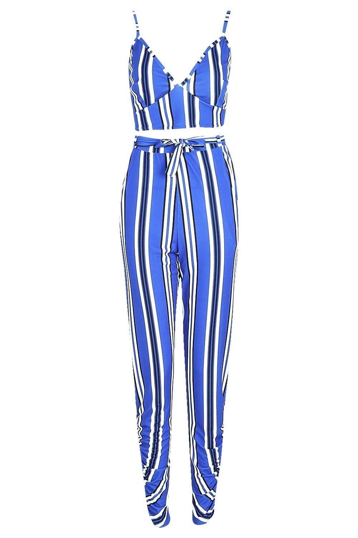 de a y azul Conjunto pantalones rayas corpiño UxaFqqdw4