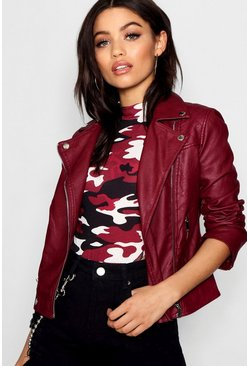 Burgundy Faux Leather Biker Jacket With Quilt Detail