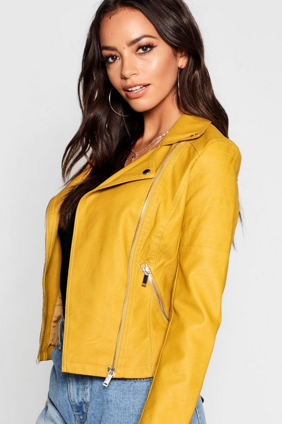 Womens Desert sand Faux Leather Biker Jacket