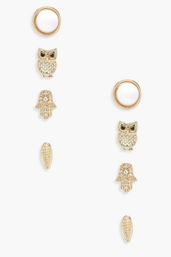 Womens Gold And Owl Stud 4 Pack