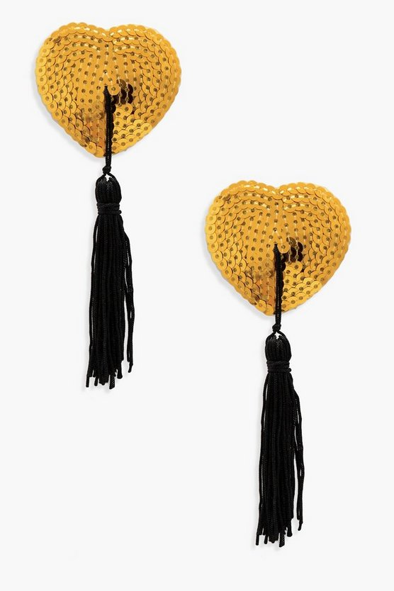 Womens Gold Sequin Nipple Tassels