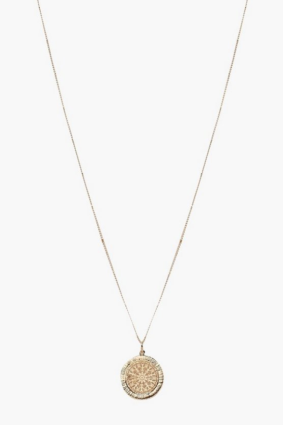 Womens Gold Coin Detail Pendant Necklace