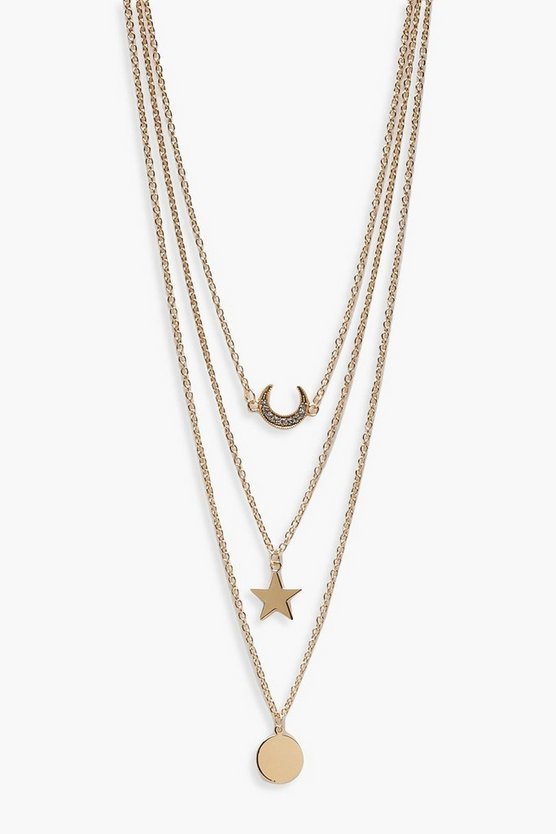 Layered Lucky Horseshoe Trinket Necklace