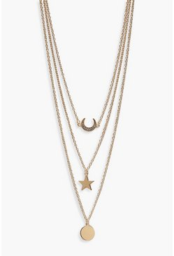 Womens Gold Layered Lucky Horseshoe Trinket Necklace