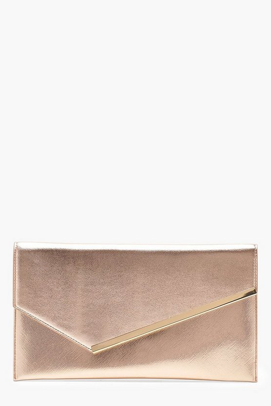 Womens Rose Asymmetric Bar Clutch With Chain
