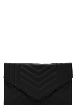 Womens Black Kerry Mixed Quilt Clutch With Chain