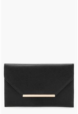 Womens Black Crosshatch Clutch Bag