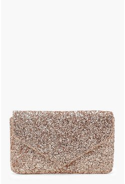 Womens Rose All Over Glitter Envelope Clutch