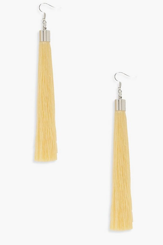 Womens Lemon Molly Pastel Extra Long Tassel Earrings