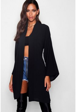 Womens Black Woven Crepe Belted Kimono