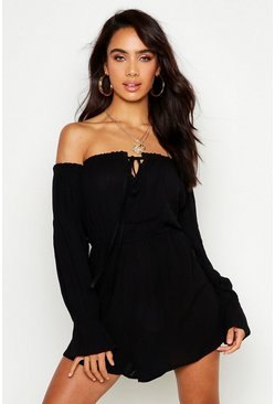 Womens Black Off The Shoulder Cheesecloth Playsuit