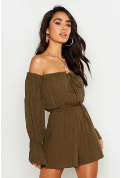 Womens Khaki Off The Shoulder Cheesecloth Playsuit