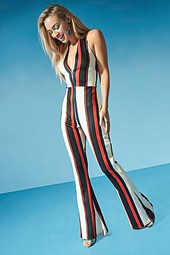 Vintage High Waisted Trousers, Sailor Pants, Jeans Kelly Halterneck Striped Flare Jumpsuit $50.00 AT vintagedancer.com