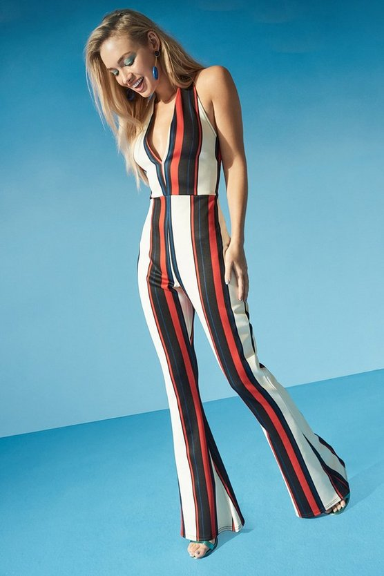 Halterneck Striped Flare Jumpsuit