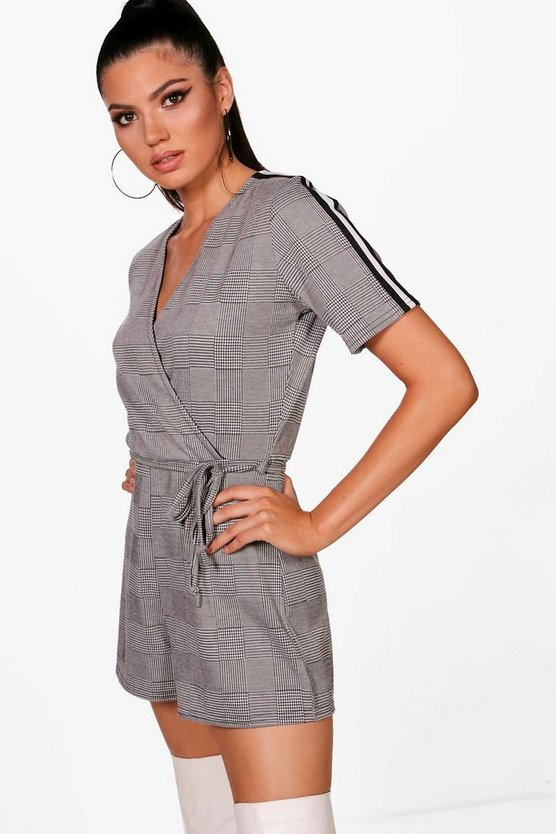 Checked Sports Stripe Playsuit