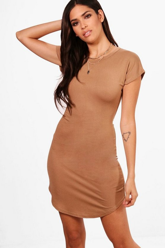 Curved Hem T Shirt Dress