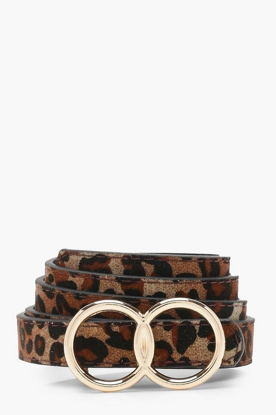 Womens Natural Double Ring Suedette Leopard Belt