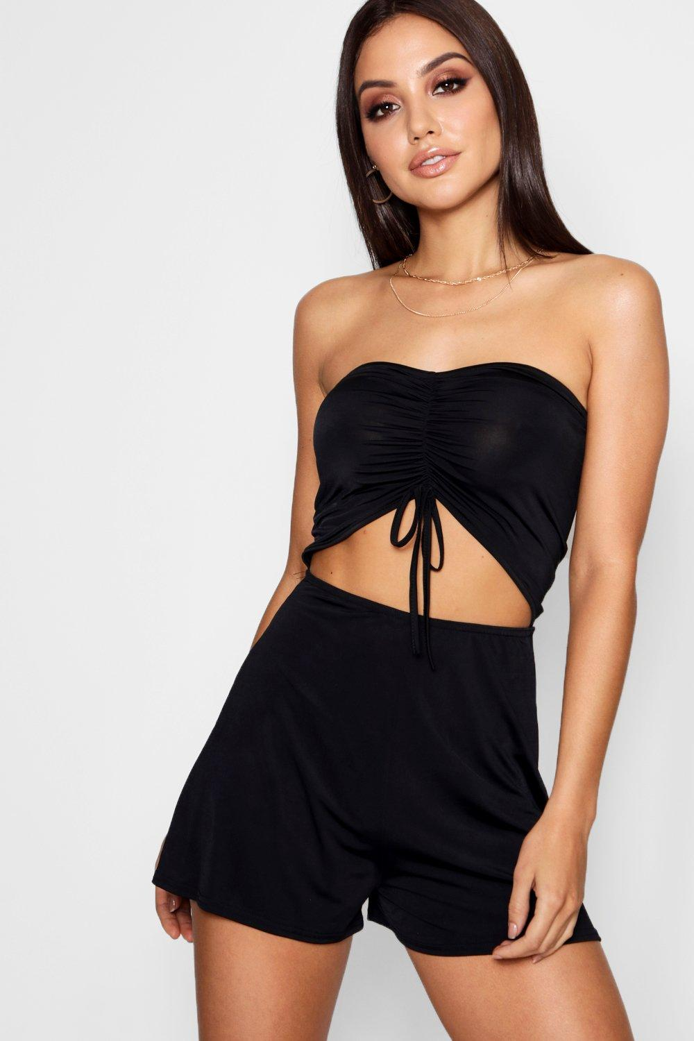 Leya Bardot Ruched Front Playsuit