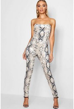 Womens Grey Snake Print Chain Detail Jumpsuit