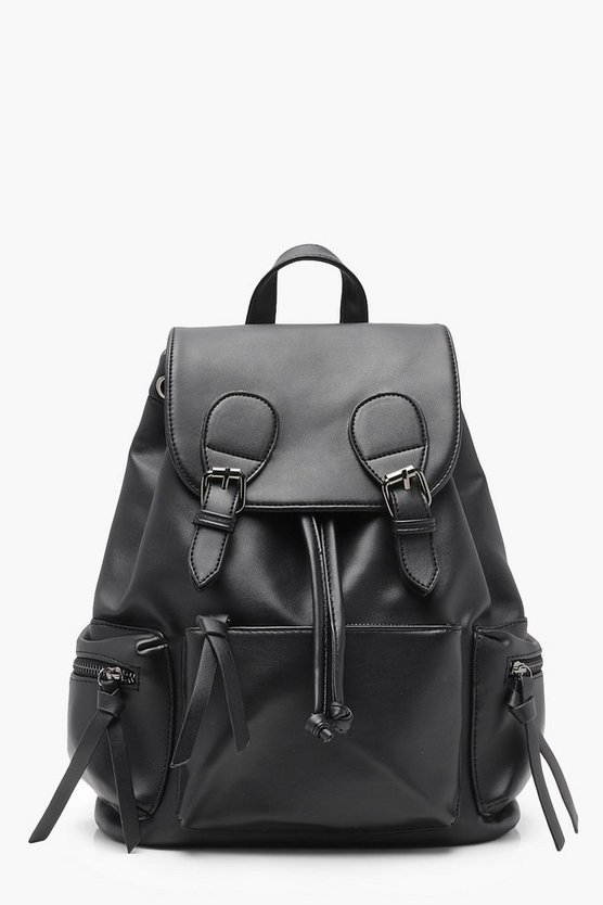 Womens Black Buckle And Pocket Rucksack