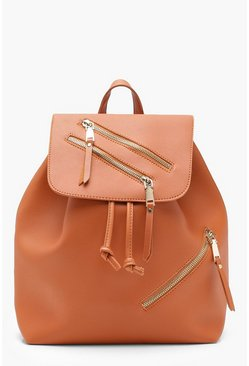 Womens Tan Zips Detail Rucksack