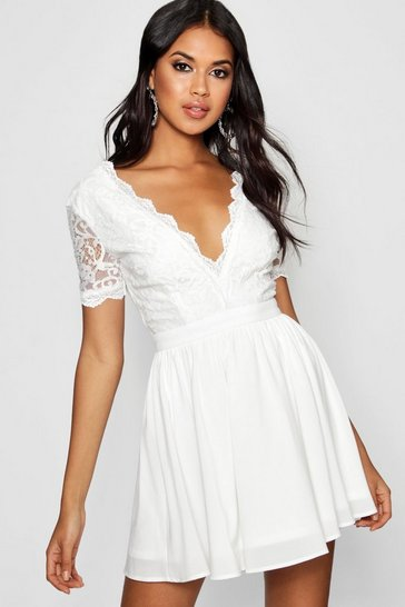 Womens Ivory Lace Top Skater Dress