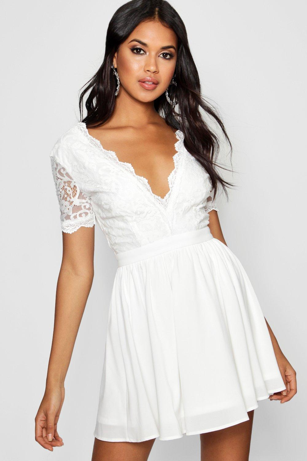 da36783301b0 Womens Ivory Lace Top Skater Dress. Hover to zoom