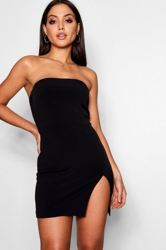 Womens Black Thigh Split Bandeau Bodycon Dress