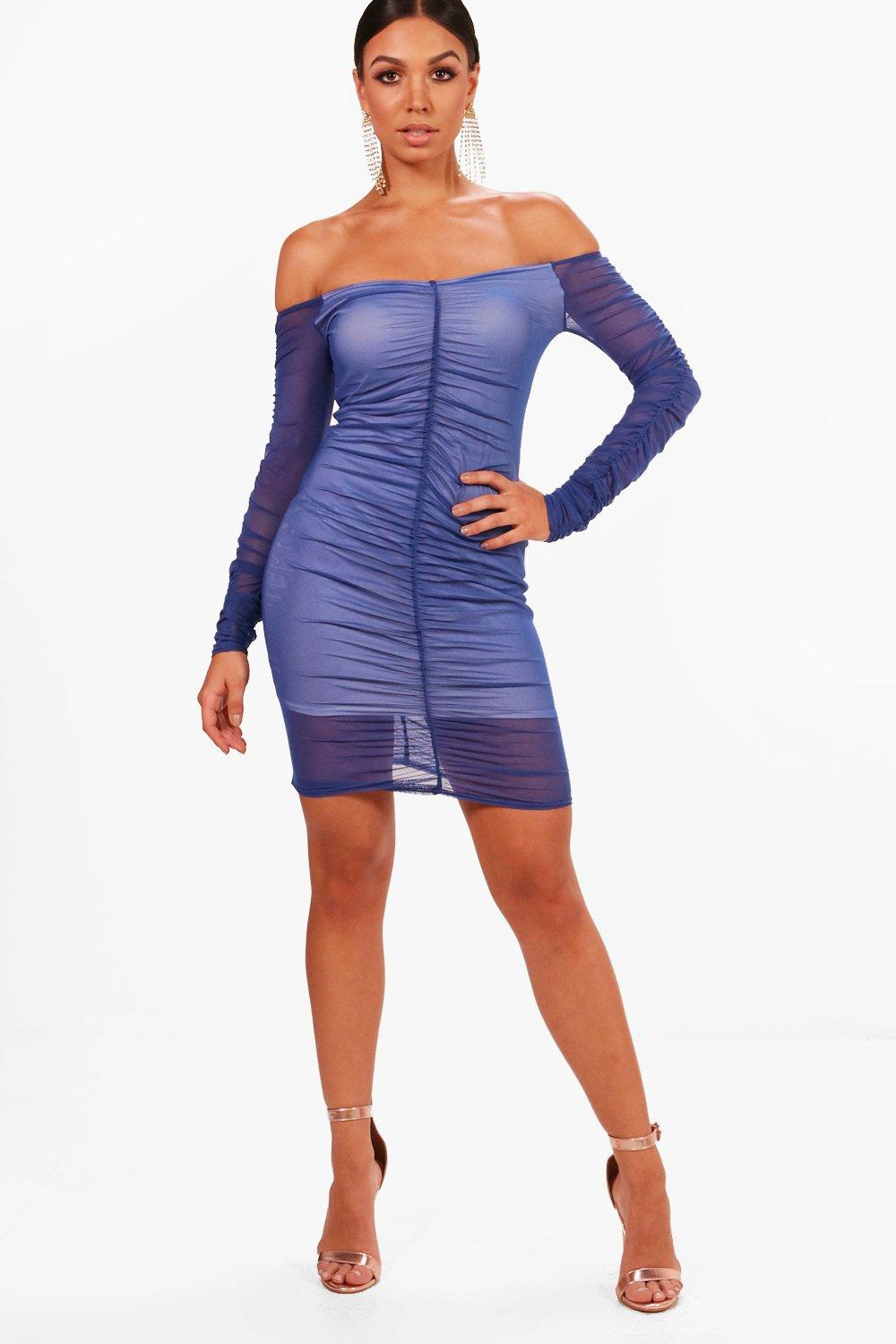 Mesh Ruched Off Shoulder Bodycon Dress | Boohoo