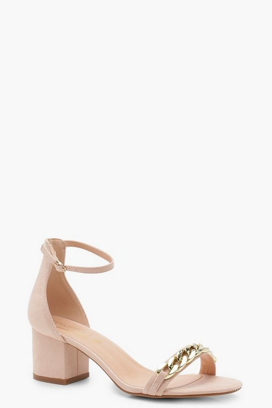 Nude Chain Strap Low Heel Two Part Sandals