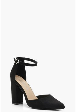 Black Pointed Ankle Strap Heels